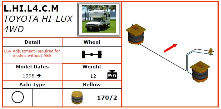 L.HI.L4.C.M/丰田空气悬挂系统/丰田空气悬挂/丰田HI-LUX 4WD (1998-) -dunlop空气悬挂